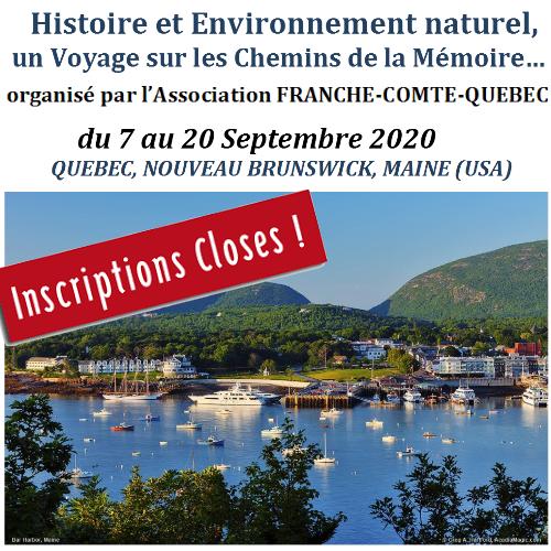 Québec, Nouveau Brunswick, Maine (USA) – organisé par l'Association Franche-Comté-Québec