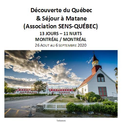 Découverte du Québec & Séjour à Matane – Association SENS-QUÉBEC
